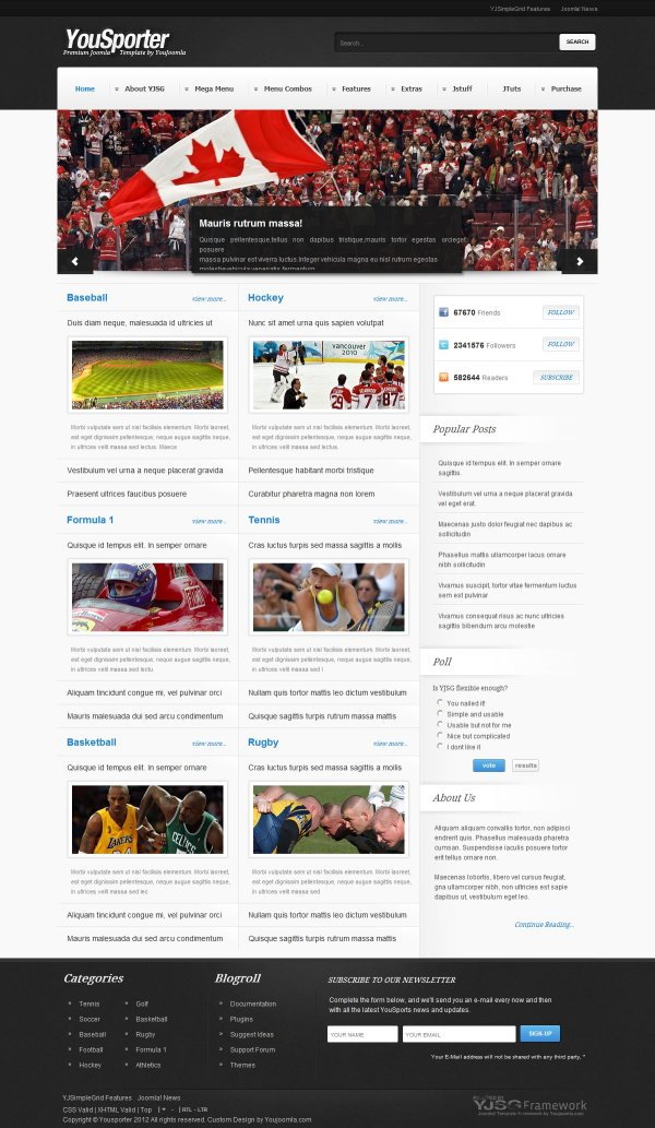 Yousporter - Sports Magazine Joomla Template