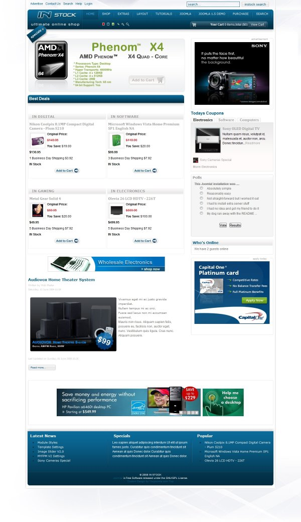 InStock - Ultimate Joomla Shoping Template