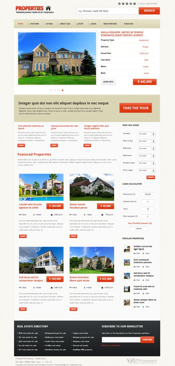 Properties - Responsive Real Estate Joomla Template