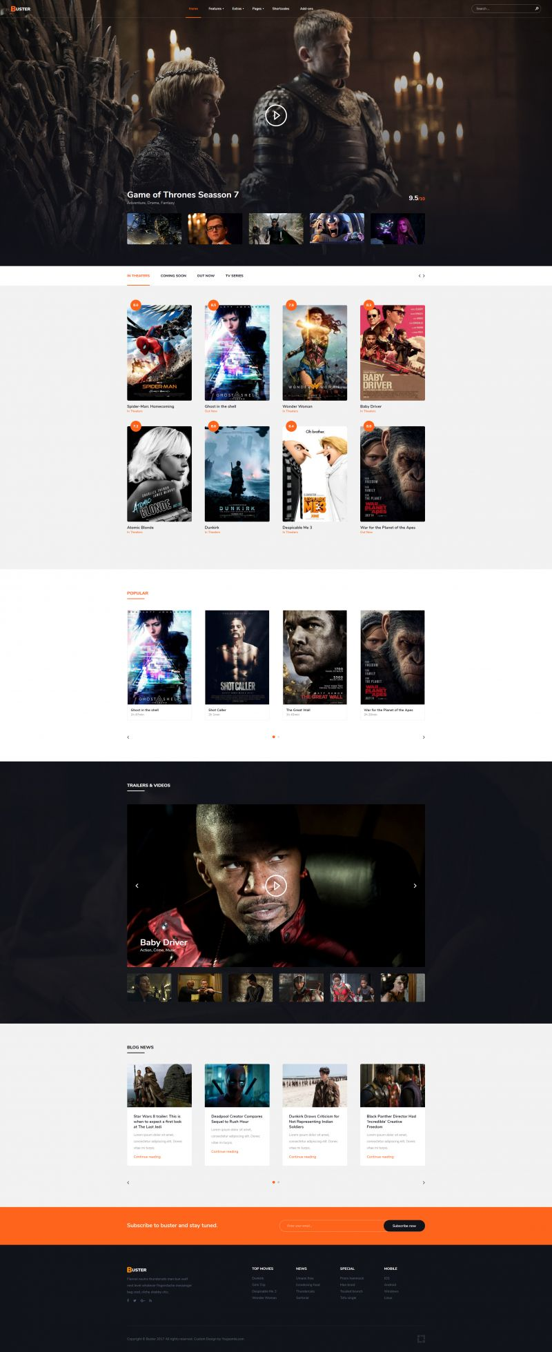Buster - Joomla! Movie Template