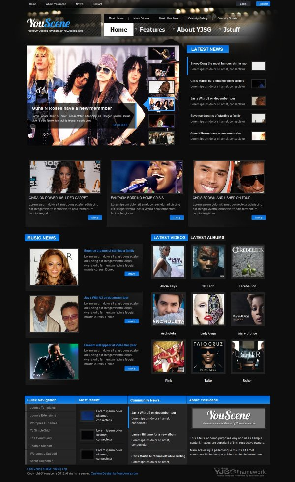 YouScene Music Magazine Joomla Template - Online magazine template