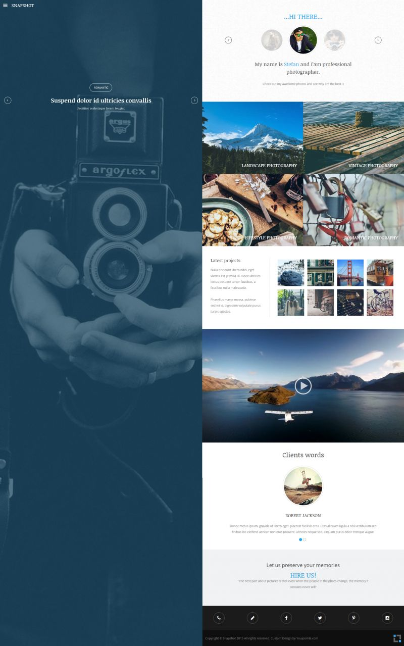 Snapshot Photographer Portfolio Joomla Template - Photography portfolio template