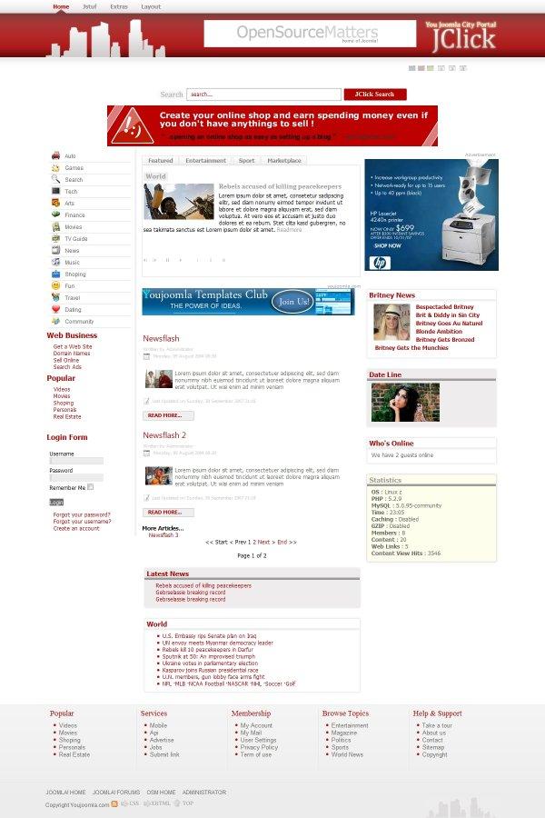 Jclick City Portal Joomla Template