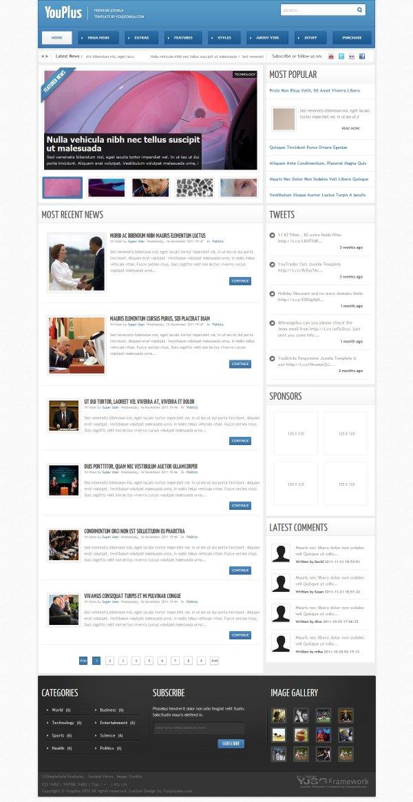 Youplus joomla news magazine template news magazine template maxwellsz