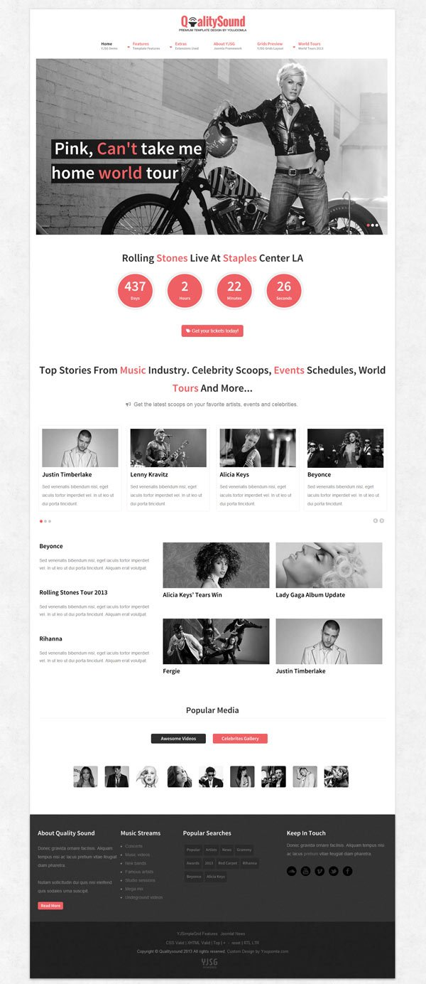 Qualitysound Responsive Music Joomla Template - Bootstrap html email templates