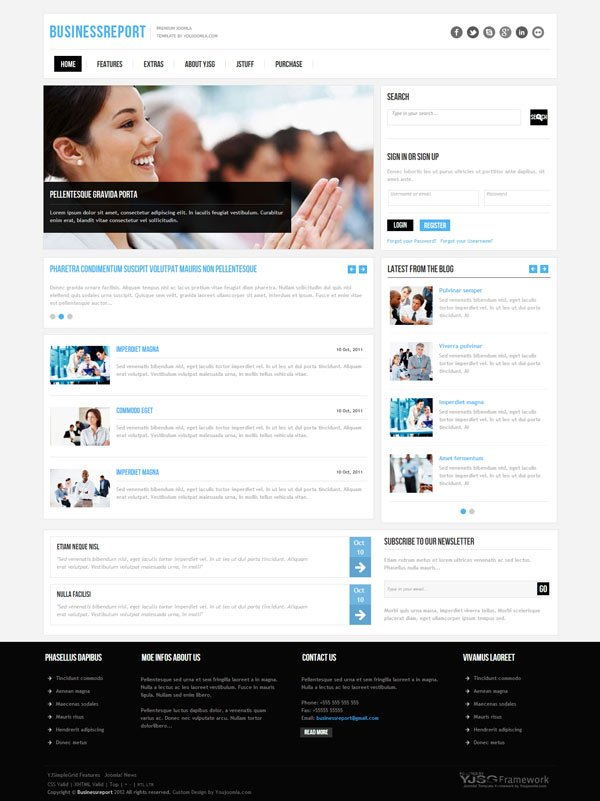 Business report joomla business template wajeb Image collections