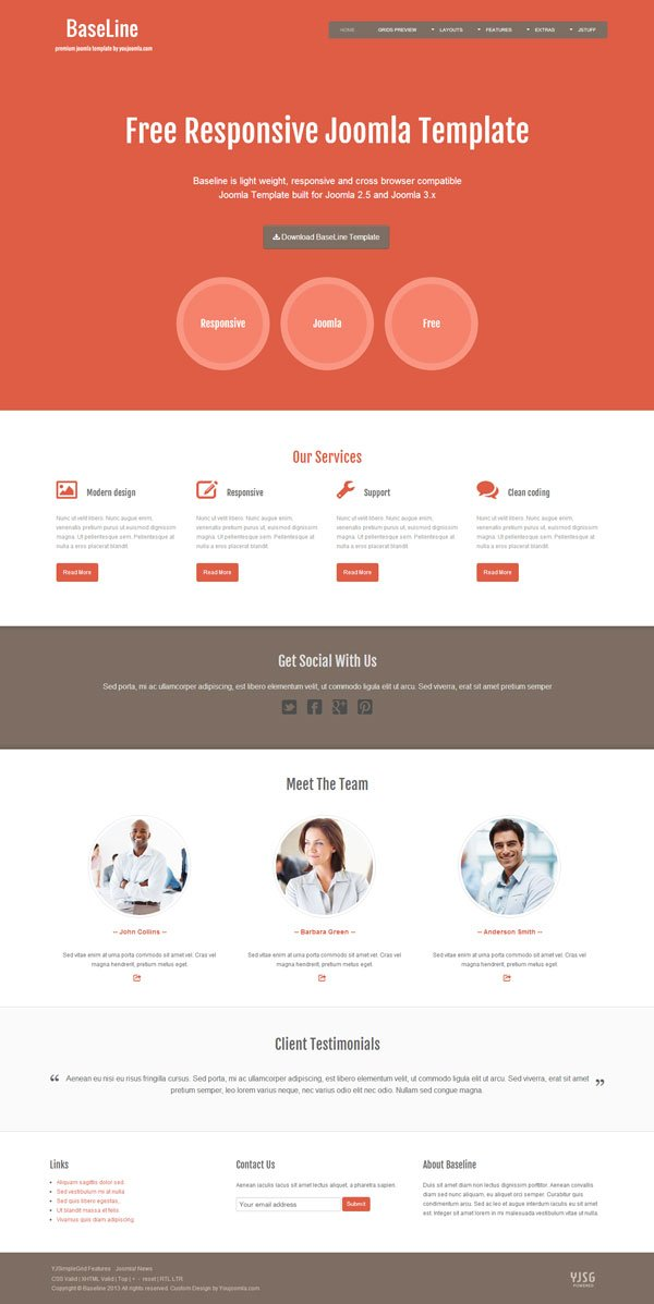Baseline free joomla template for Jooma templates