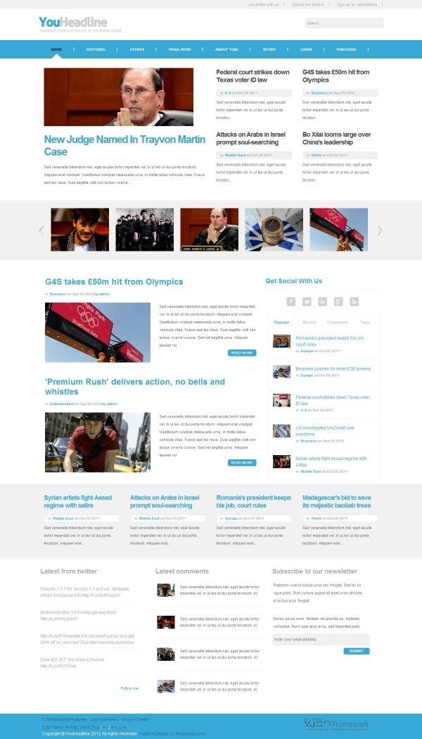 Youheadline News Magazine Joomla Template
