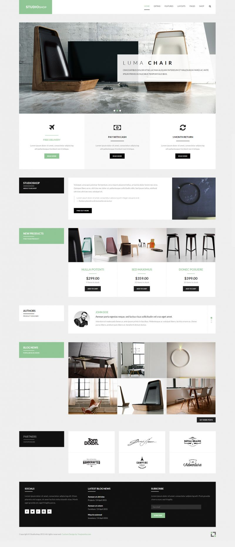 Studioshop - Furniture Gallery Shop Template Featuring HikaShop