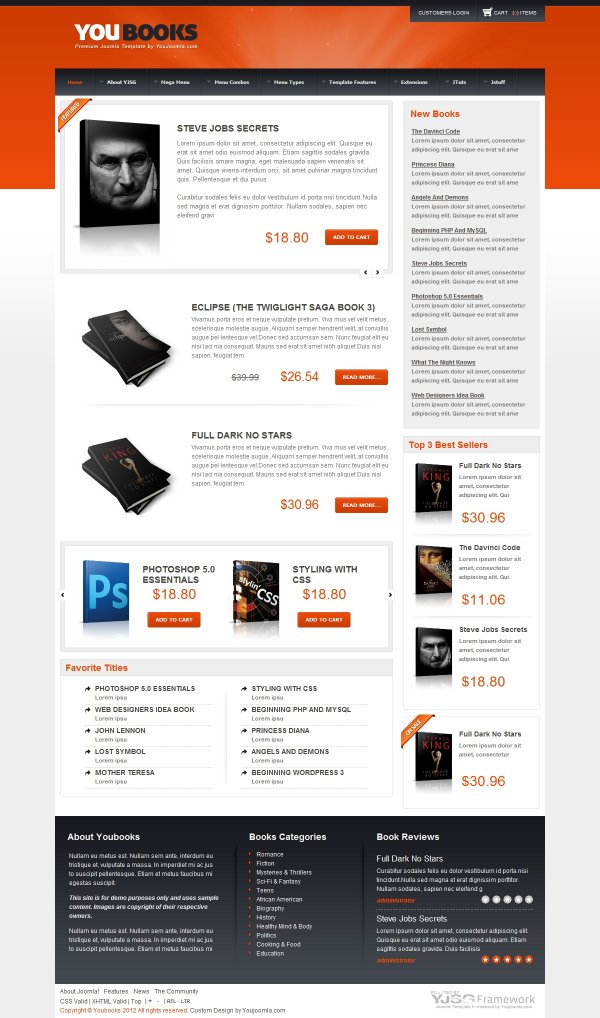 Youbooks - Web Shop Joomla Template