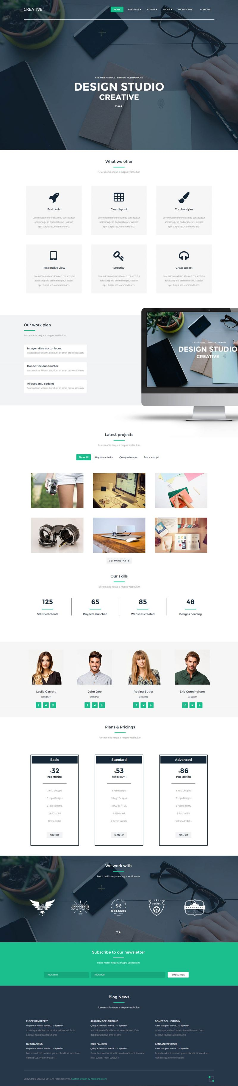 creative designer web studio joomla template